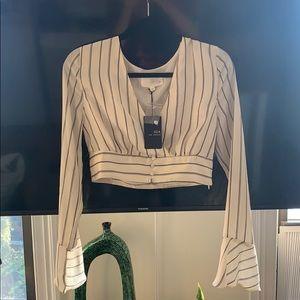 Long sleeve silk crop top with size zipper.